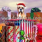 Share a Holiday suprise with this boxer wearing a santa hat coming out from a huge gift box.