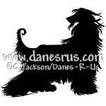 Image of Nobility - A King of Dogs. Afghan Hound Silhouette artwork from Danes-R-Us is full of fabulous detail. Elegant style in black and white.