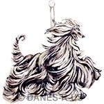 Afghan Hound Carousel design One in a Series of Two - Moving Afghan Hound. Flowing coat in shades of purples, tans and creams in a moving stance with carousel pole.