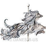 Afghan Hound Carousel design Two in a Series of Two - Jumping Afghan Hound. Flowing coat in shades of blues, tans and creams in a jumping stance with carousel pole.