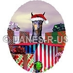 Share a Holiday Surprise with this Doberman Pinscher wearing a Santa hat coming out from a huge gift box. Christmas artwork from Danes-R-Us.