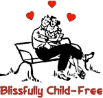 "Loving couple cuddling on a bench with hearts above them and words ""Blissfully Child-Free"" shows being childfree by choice leads to happiness, closer relationships, and free time to grow."