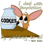 I deal with temptation by yielding to it! Funny Mark Twain quote accompanies this adorable Pembroke Welsh Corgi cartoon, with the dog peeking longingly at a big cookie jar. Fun dog lover gifts.