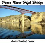 The Pecos River High Bridge goes over the Pecos River Arm of Lake Amistad, Texas near the towns of Comstock and Del Rio, TX. Many people enjoy this area of Amistad National Recreation Area.