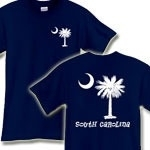 This deluxe version features the white palmetto moon printed on the pocket area on the front and a matching palmetto on the back with the state name, South Carolina. Buy your favorite t-shirt, sweatshirt, or other clothing item.