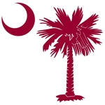 The garnet palmetto and crescent moon pocket print design is a symbol of South Carolina pride. Buy garnet palmetto t-shirts, sweatshirts or other clothing items with the palmetto moon printed on the pocket area.