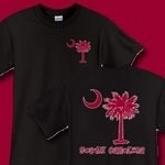 This deluxe version features a garnet palmetto moon printed on the pocket area on the front and a matching palmetto on the back with the state name, South Carolina. Buy your favorite t-shirt, sweatshirt, or other clothing item.