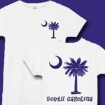 This deluxe version features a purple palmetto moon printed on the pocket area on the front and a matching palmetto on the back with the state name, South Carolina. Buy your favorite t-shirt, sweatshirt, or other clothing item.