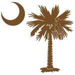 The chocolate brown palmetto and crescent moon design is a symbol of South Carolina pride. Buy chocolate brown palmetto moon t-shirts, sweatshirts, or other clothing or gift items.