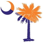 The orange and purple palmetto and crescent moon pocket print design is a symbol of South Carolina pride and is popular with Clemson fans everywhere. Buy orange and purple  palmetto t-shirts, sweatshirts or other clothing items with the palmetto moon prin