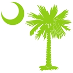The lime green palmetto and crescent moon pocket print design is a symbol of South Carolina pride. Buy lime green palmetto t-shirts, sweatshirts or other clothing items with the palmetto moon printed on the pocket area.