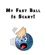 This funny bowling ball shirt design shows a hand delivering a scary cartoon bowling ball so fast that even the bowling ball is terrified.