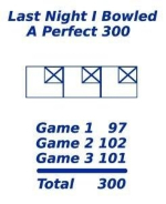 This funny perfect score bowling t-shirt design shows how anyone can get a perfect 300 bowling score. Just add up the scores of three games to get a perfect 300.