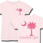Carolina Girls are the best in the world! The deluxe print features a pink palmetto moon on the front pocket area and a matching carolina girl design that also features the palmetto and moon logo of South Carolina.