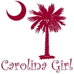 Carolina Girls are the best in the world! Choose your favorite shirt style and color for this garnet version of our popular carolina girl design that also features the palmetto and moon logo of South Carolina.