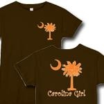 Carolina Girls are the best in the world! The deluxe print features an orange palmetto moon on the front pocket area and a matching carolina girl design that also features the palmetto and moon logo of South Carolina.