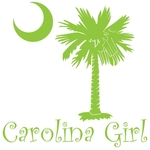 Carolina Girls are the best in the world! Choose your favorite shirt style and color for this lime green version of our popular carolina girl design that also features the palmetto and moon logo of South Carolina.
