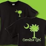 Carolina Girls are the best in the world! The deluxe print features a lime green palmetto moon on the front pocket area and a matching carolina girl design that also features the palmetto and moon logo of South Carolina.