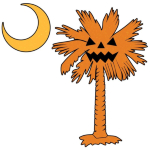 The halloween pumpkin palmetto is the perfect trick or treat accessory. This smaller version is printed in the pocket area of the pumpkin palmetto t-shirt, sweatshirt, or apparel item.