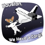 Houston, we have a corgi! Funny Pembroke Welsh Corgi art with the dog breed in outer space, out for a little space walk above the earth. He's wearing a spacesuit and helmet. Unique dog lover drawing is sure to be a hit with corgi fans!