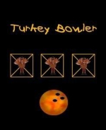 This whimsical bowling shirt design shows a special bowling score card with three turkeys in a row, making the wearer an official Turkey Bowler. It also includes an image of a colorful bowling ball.