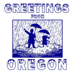 This design captures the essence of Oregon. It rains a LOT and we don't mind! Clean air, green forests, great rivers...