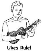 This ukulele playing boy has plenty of things to say about the uke! Take your pick -- there's bound to be a funny saying that fits you to a tee. A great humorous design for any ukulele player.