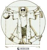 "A Dudeist version of Leonardo Da Vinci's ""Virtuvian Man"""