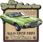 It was a good car. That heap really could roll. The Dude's 1972 Ford Gran Torino. Not as beautiful as Clint Eastwood's prized model, but beloved just the same. The Nihilists killed it, but it lives forever on your shirt or what-have-you.