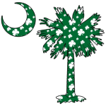This pocket sized version of the Green Clover Pattern Palmetto features a green South Carolina palmetto and moon with a white four leaf clover pattern positioned in the pocket area of a t-shirt, sweatshirt, or other clothing item.