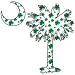 This pocket sized version of the White Clover Pattern Palmetto features a South Carolina palmetto and moon with a green four leaf clover pattern positioned in the pocket area of a t-shirt, sweatshirt, or other clothing item.