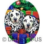 "Dalmatian Pups cannot wait any longer to open their gifts - Their eyes beg ""Can We Open Them NOW?!"" These holiday dogs will help you celebrate Christmas in seasonal style."