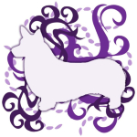 Awesome Pembroke Welsh Corgi tshirts for dog lovers. A very light lilac Pembroke Welsh Corgi silhouette stands in front of a chaotic maelstrom of purple swirls and dots.