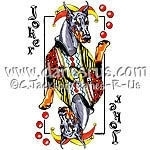 Whimsical playing card art featuring a Black & Tan Doberman Pinscher as the comical Joker. Dobe Lovers will just LOVE it! Also available with a Red Dobie.