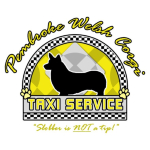 "Funny Pembroke Welsh Corgi t-shirts have a dog silhouette in the center, surrounded by bright yellow and black & white checkerboard. Text reads, ""Pembroke Welsh Corgi Taxi Service."" Because sometimes it seems like that's all you do!"