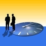"Two businessmen talking on the clock illustration. Allegory. This image on your t-shirt will make you a good fafor: you can read that message clearly: ""Okay, I'm here for you, but please don't forget that time is running!"""