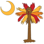 Celebrate Thanksgiving in South Carolina Palmetto Moon style with a Thanksgiving Turkey Palmetto Moon T-Shirt, Sweatshirt, or other gift item. This version features the Turkey Palmetto printed in the pocket area of our apparel items.