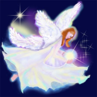 Luminous angel twinkles from her celestreal point in the heavens. You will lsparkle in this original hand painted angelic printed t-shirt.  A beautiful gift.  Buy 2 or more and save.