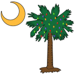 Celebrate a Palmetto Christmas in South Carolina with a Christmas Palmetto Moon T-Shirt, Sweatshirt, or other apparel item. This version features a pocket sized version of the Christmas Tree Palmetto.