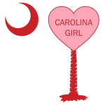 "A Candy Heart Palmetto Moon for a Carolina Girl! Perfect for Valentine's Day, it features a pink candy heart on the South Carolina Palmetto Moon with ""Carolina Girl""."