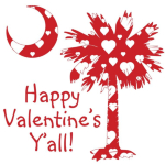 Happy Valentine's Y'all with a White Heart Pattern Palmetto Moon. Get your Happy Valentine's Y'all shirt, apparel, or other gift item today!