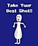 "This mocking bowling shirt design shows a comical bowling pin sticking out its tongue. The bowling pin is taunting with the comment: ""Take Your Best Shot!"""