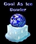 "This ice cold bowler shirt design shows a bowling ball sitting atop a slowly melting block of ice. The caption says:  ""Cool As Ice Bowler."""
