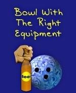 This nifty beer bowler shirt design suggests that to be a good bowler, you must use the right bowling equipment. It shows a bowling ball and a hand firmly grasping a bottle of beer.