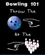 "This amusing bowling 101 shirt design shows a hand pointing at a bowling ball, with another hand pointing at bowling pins. The message is a basic lesson in bowling: ""Throw the ball at the pins."""