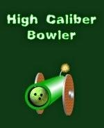 "This funny bowling shirt design shows a big cannon with burning fuse, pointing at the viewer. Inside the cannon is a bowling ball ready to be fired. The caption says: ""High Caliber Bowler."""