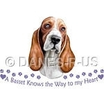 A Basset Knows the Way to My Heart - features a red & white Basset Hound with the text, tiny hearts and a paw print path.