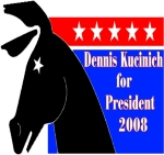 Dress for success on the campaign trail with a Dennis Kucinich For President in 2008 t-shirt, tank top or sweatshirt.