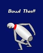 "This ""in your face"" funny bowling design shows a boastful bowling pin pointing to it's rear end as it says: ""Bowl This!!"""