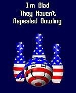"This witty patriotic bowling shirt design merges a bit of politics with the favorite sport of bowling. It shows ball and pins colored in stars and stripes, and says: ""I'm Glad They Haven't Repealed Bowling."""